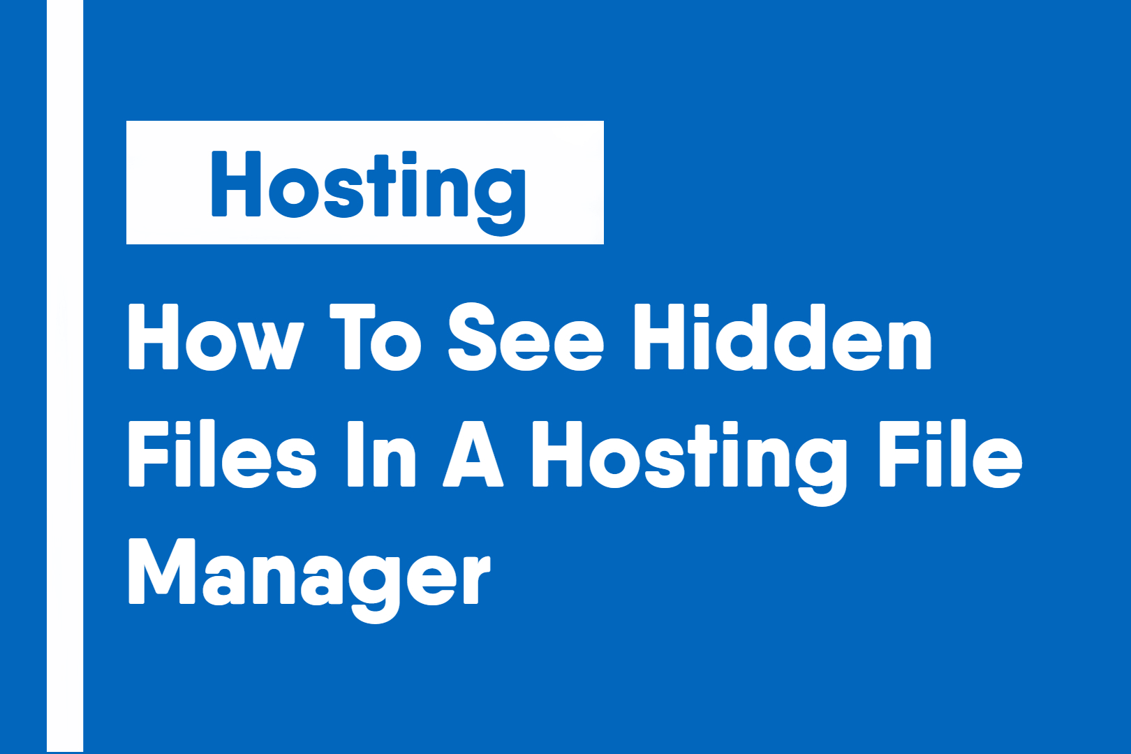 how to see hidden files in hosting file manager