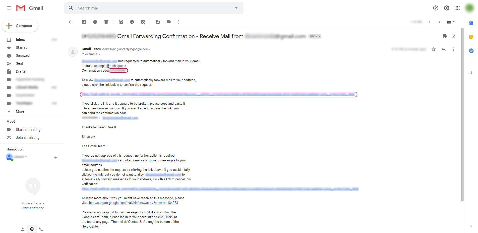 gmail email forwarding step 7