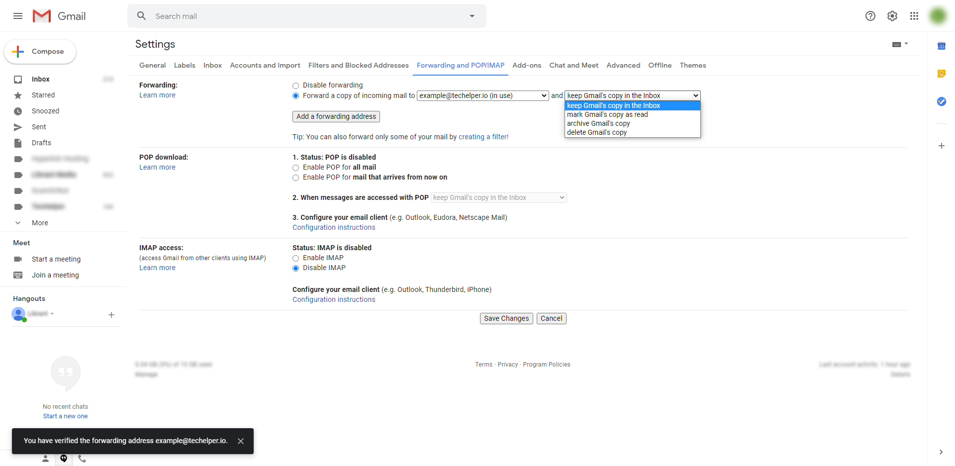 gmail email forwarding step 8