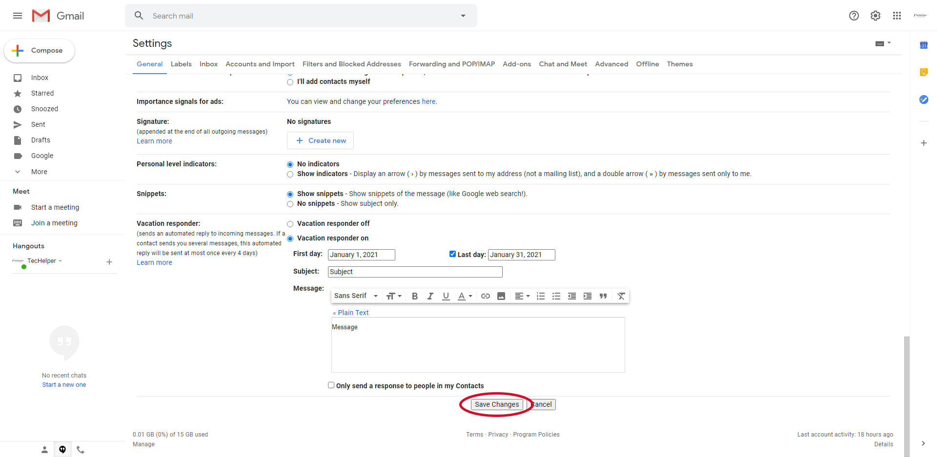 gmail enable vacation responder step 5