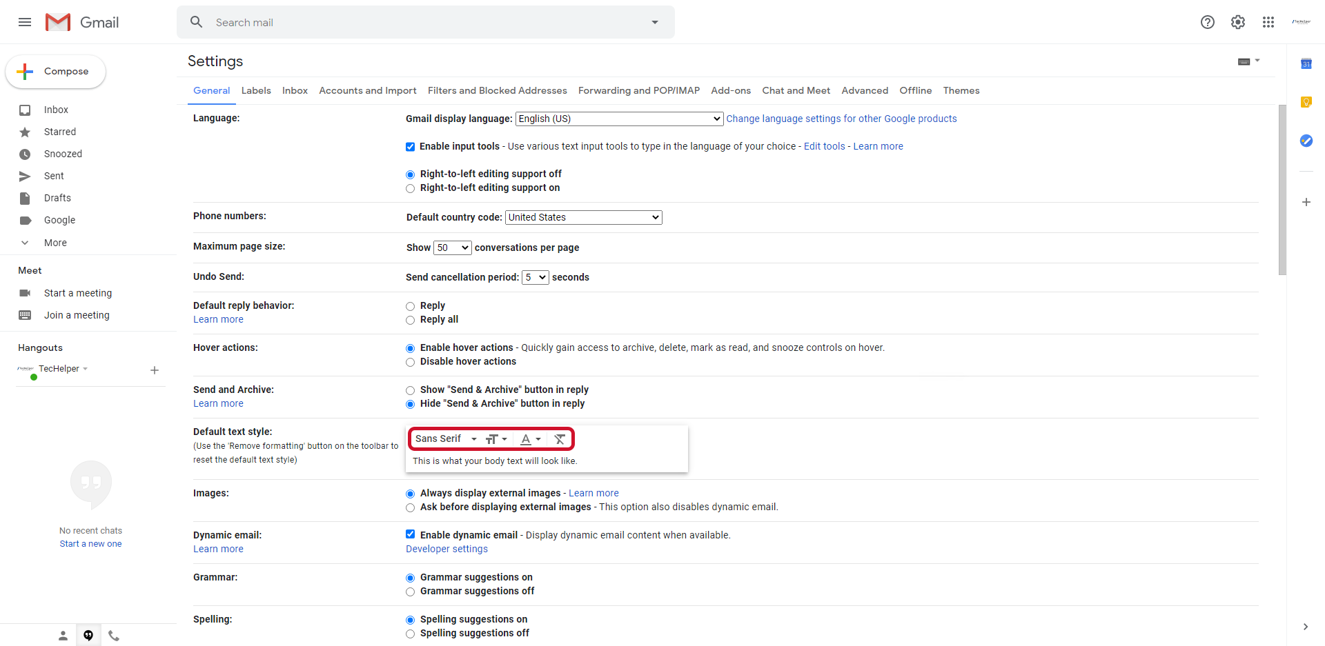 gmail default text style step 3