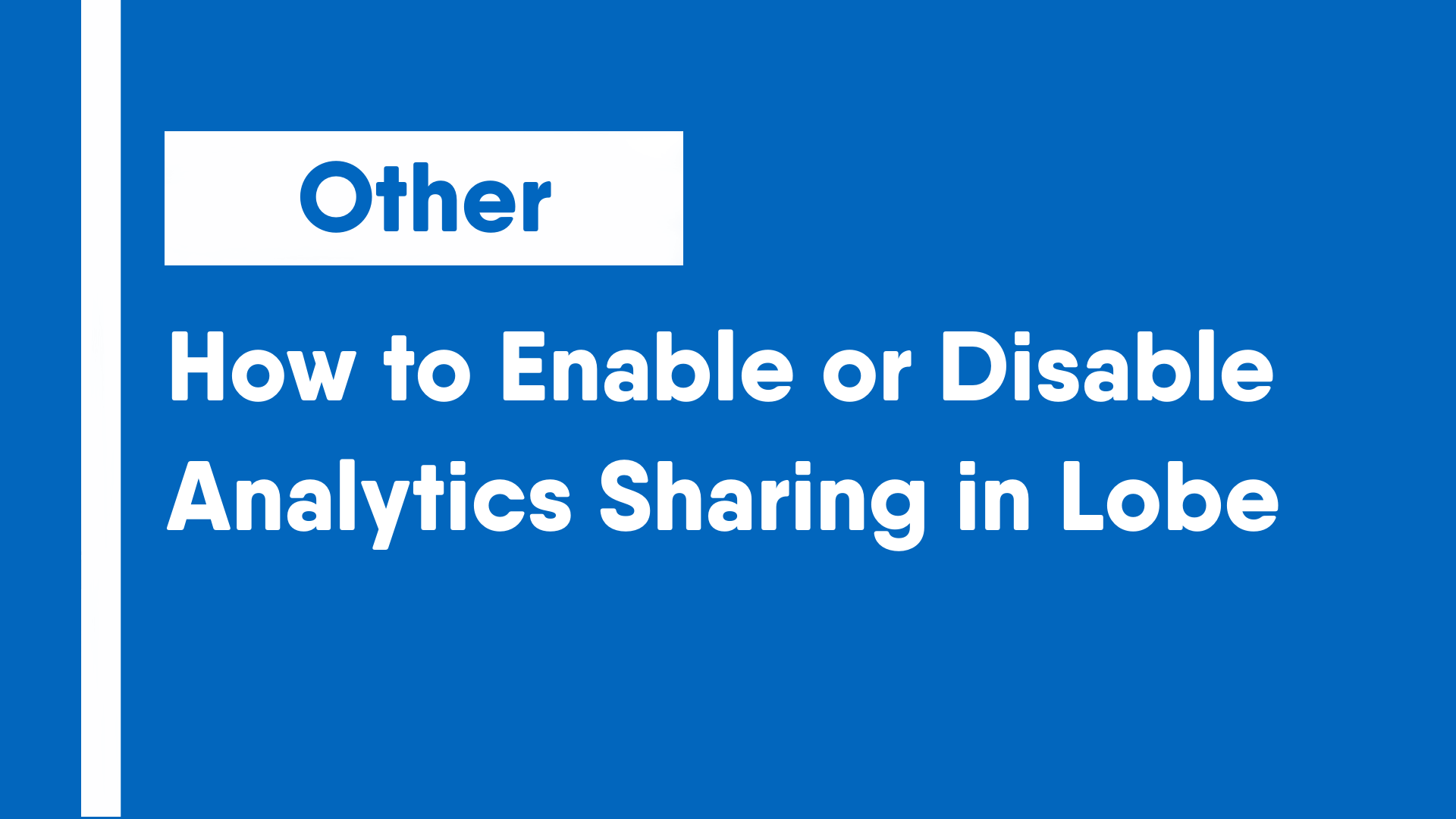How to Enable or Disable Analytics Sharing in Lobe