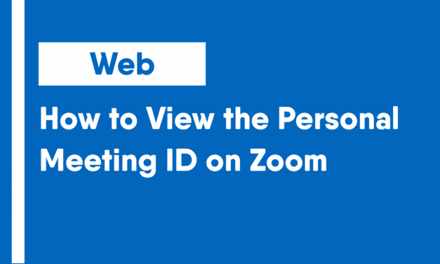 How to View the Personal Meeting ID on Zoom