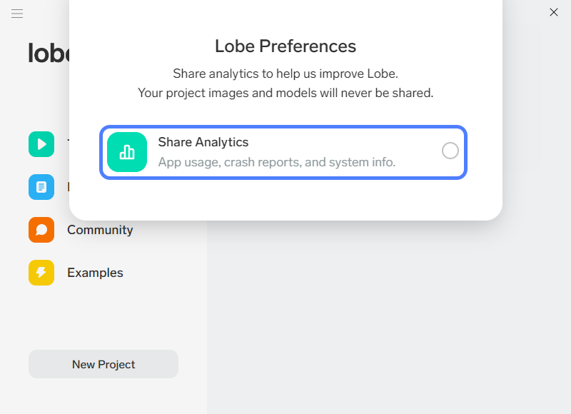 lobe analytics sharing enable disable step 3